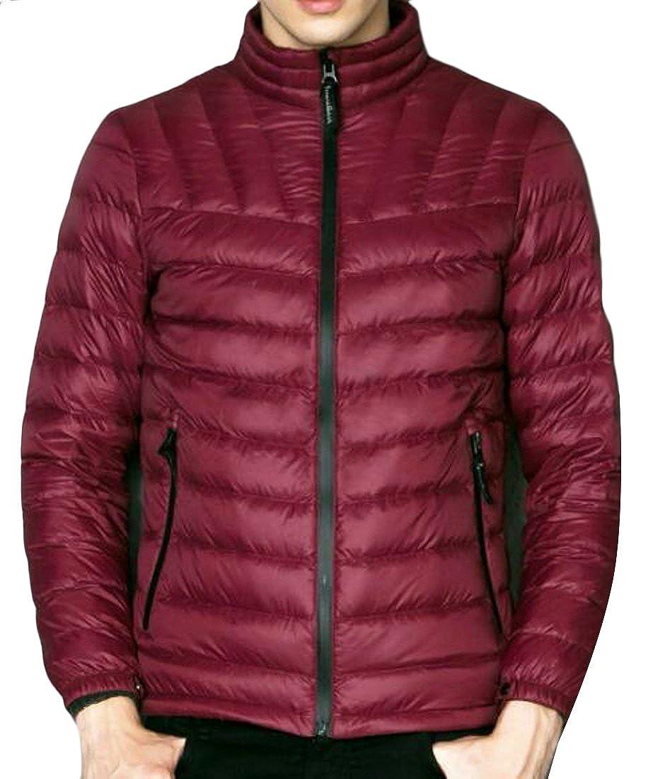 Macondoo Mens Stand Collar Packable Warm Puffer Jacket Down Coat Overcoat