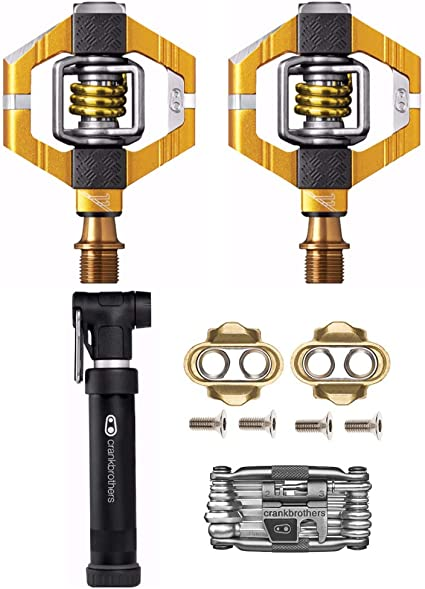 Crank Brothers Eggbeater 11 Gold MTB CX Bike Pedals /& Cleats Titanium Spindle