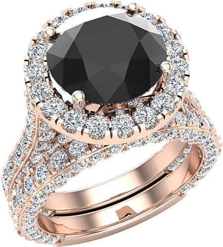 Amazon.com: Black Diamond Wedding Ring Set 9K Gold Halo Rings for