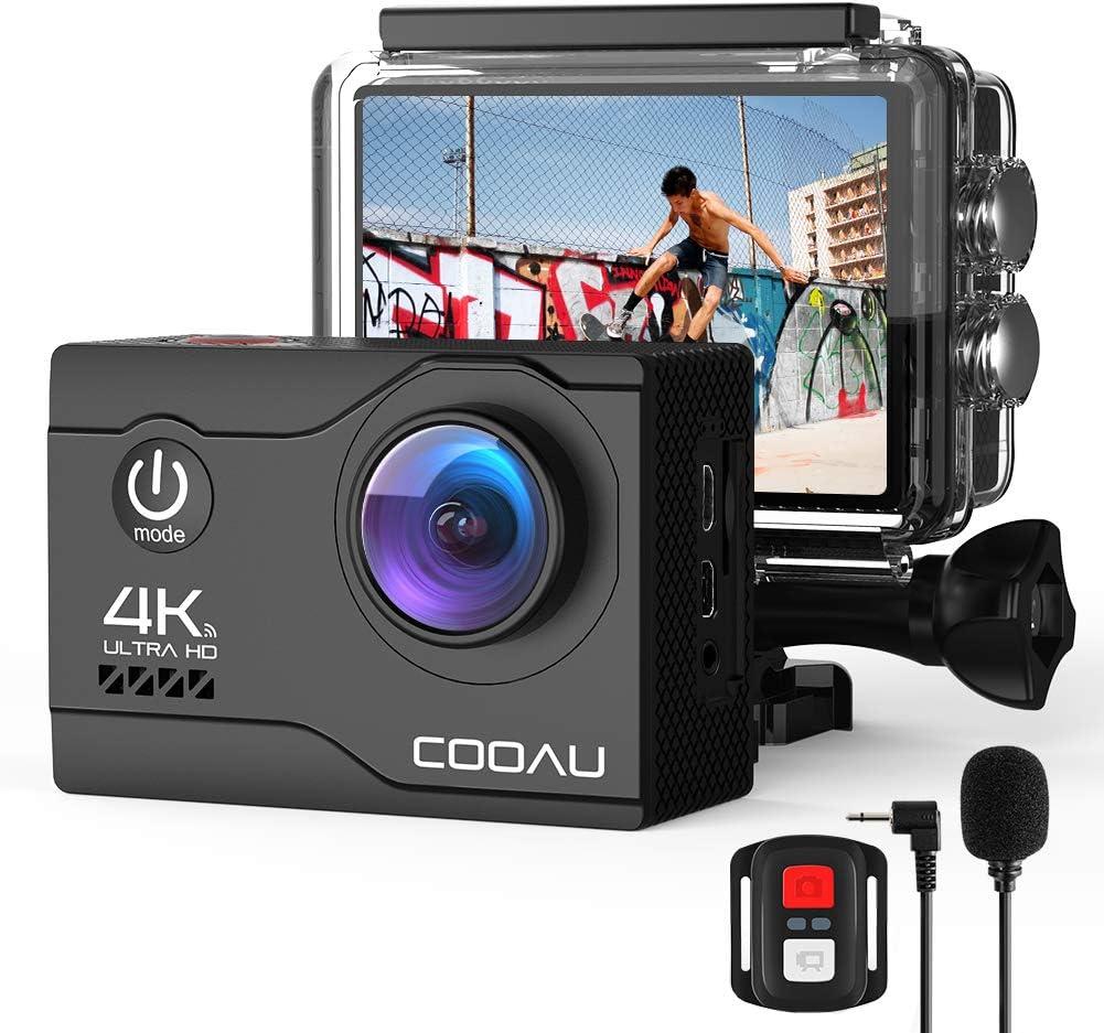 COOAU 4K Camara Deportiva Webcam 20MP WiFi Underwater 40M Puede usarse como. con Control Remoto y micrófono Externo Cámara de Casco de estabilización EIS con baterías 2X1200mAh y 20 Accesorios