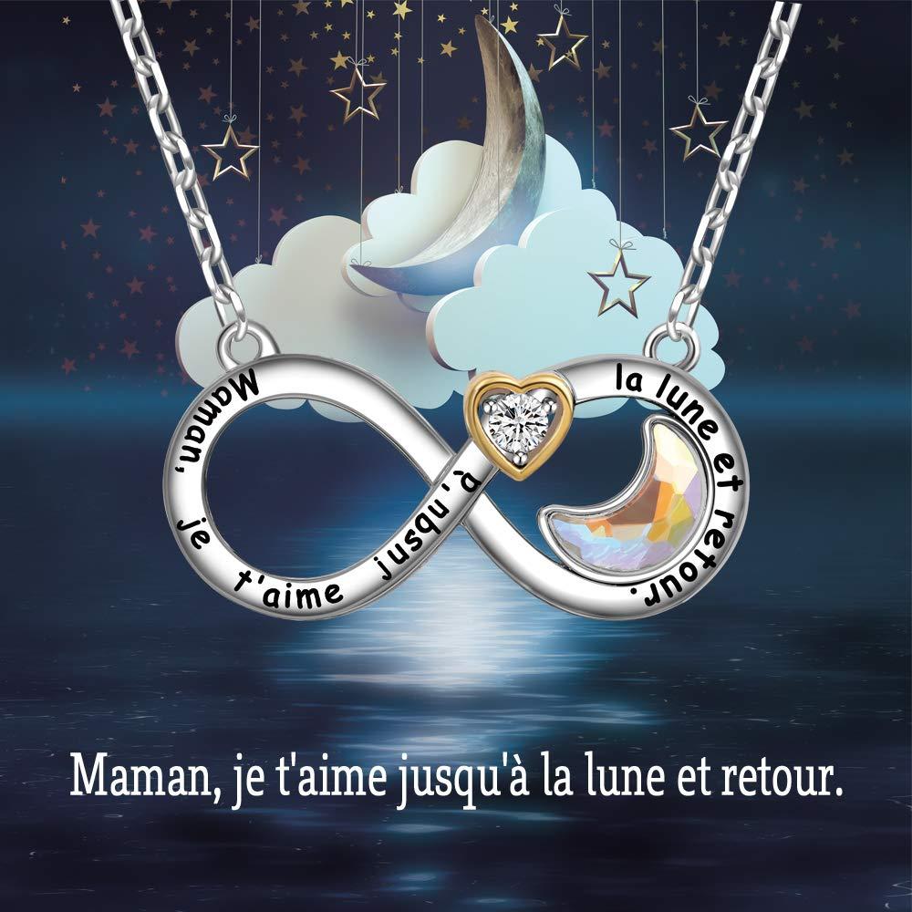 ENGSWA Collier M/ère Femme Grav/é Cristaux Lune et C/œur Pendentif Infini Cadeau pour Maman