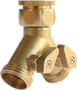 PLG Solid Brass Garden Hose Splitter,2 Way Y Hose Conenctor & Shut Off Valve