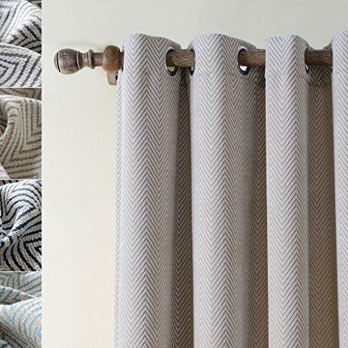 ChadMade Polyester Chenille Jacquard Eyelet Grommet Zig Zag Wave Soft Handfeel Panel Curtain Drapes (1 Panel) Beige 50Wx84