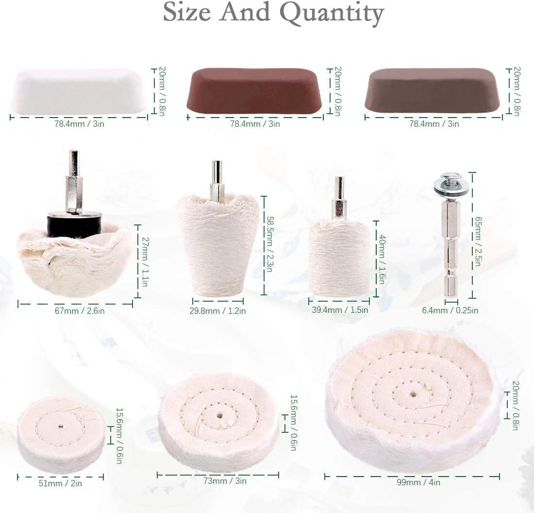 Dveda Buffing Pad for Drill 10 Pcs Polishing Wheel Kits White Flannelette Polishing Wheel Cone//Column//Mushroom//T-Shaped Wheel Grinding Head Rouge Compound /& 1//4 Handle