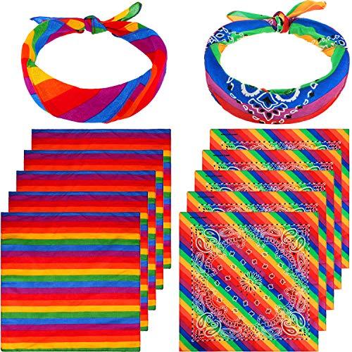 12 Pieces Rainbow Bandanas Rainbow Stripe Bandana
