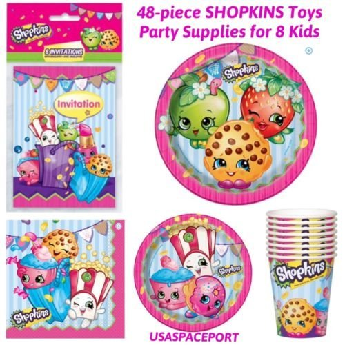 Invitations Birthday Gras Mardi (48p 2016 Shopkins BIRTHDAY PARTY SUPPLIES KIT for 8 Kids PLATES+CUPS+INVITATIONS)