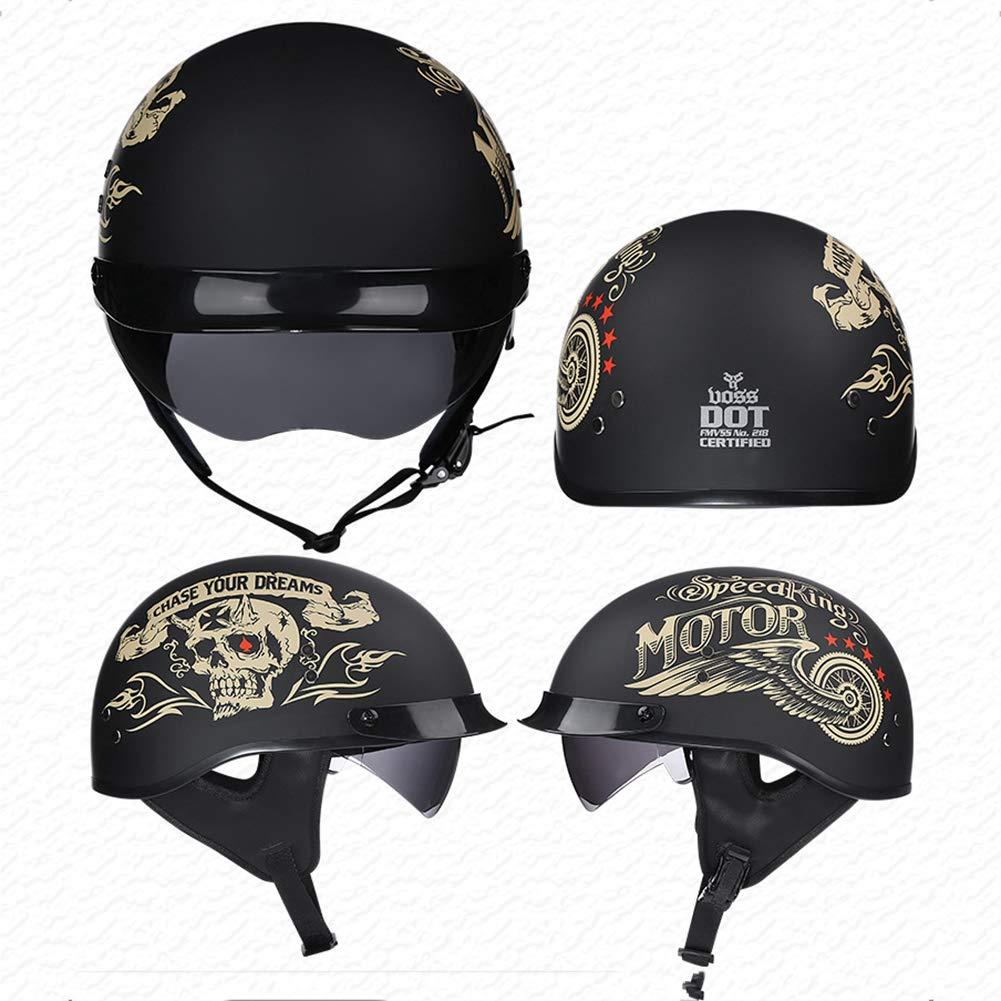 TKer Motorcycle Open Face Helmet with Goggles, Adults Men & Women Jet Helmet Baseball Helmet Scooter Helmet Half Helmet, DOT Approved,M by TKer