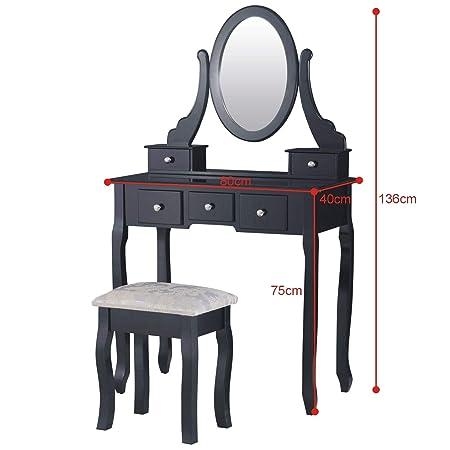 Generic * CK DRES Set Maquillaje Secado Mesa Taburete Moderno Bla Negro Tocador Escritorio S con cajones 360 ¡ã Espejo con cajones: Amazon.es: Electrónica