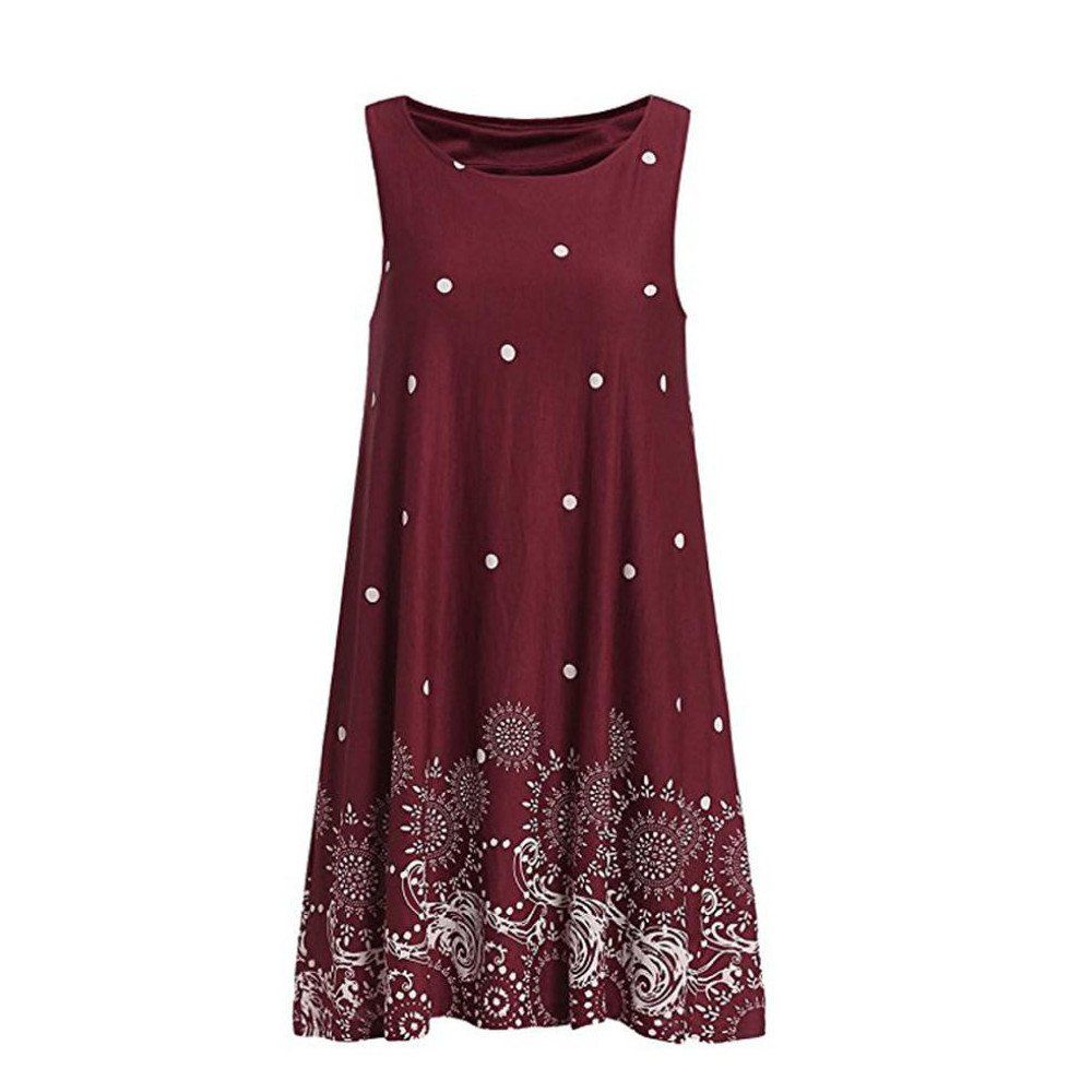 Hengshikeji Womens Dresses Sexy Ladies Summer Solid Chiffon Sleeveless O Neck Evening Party Vest Dresses Casual Loose Mini Dress Wine Red