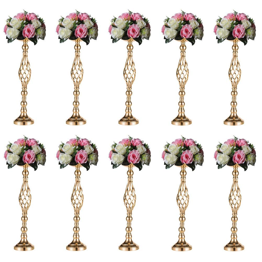 Sziqiqi 10 Pcs/Set Metal Flower Vase, Wedding/Party Flowers Centerpieces for Table, Tall Candle Holder for Pillar Candle, Restaurant Hotel Decorations (59CM ×10)