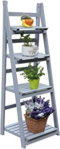 4 Tier Flower Stand, Wooden Flower Shelf Ladder, Garden Home Balcony Outdoor Display (Gray)