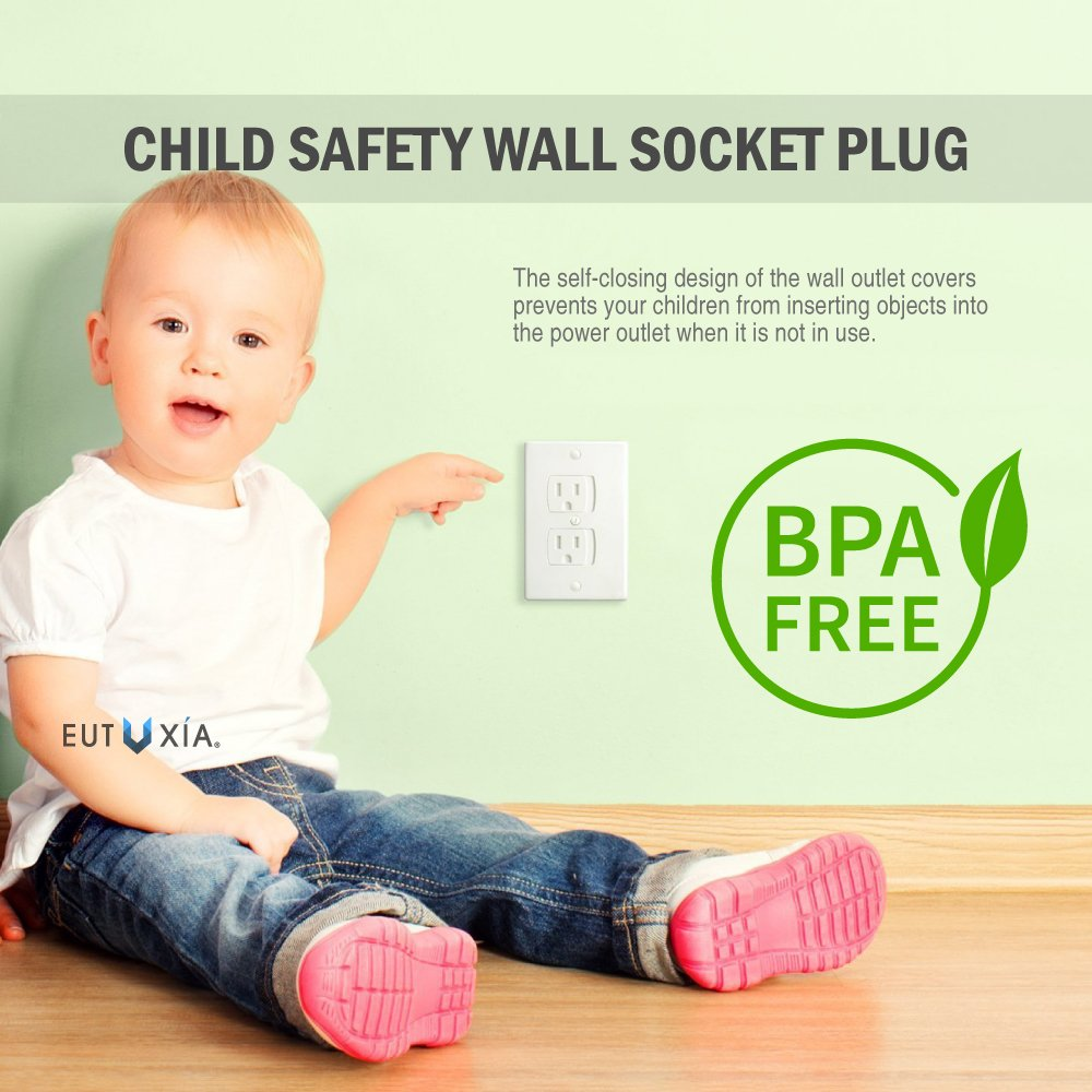 Eutuxia Universal Self-Closing Electrical Outlet Covers. Automatically Closes to Prevent Electric Hazards for Babies, Toddlers, and Children. Safety & Better Alternative to Wall Socket Plugs. [12 PK] by Eutuxia (Image #2)
