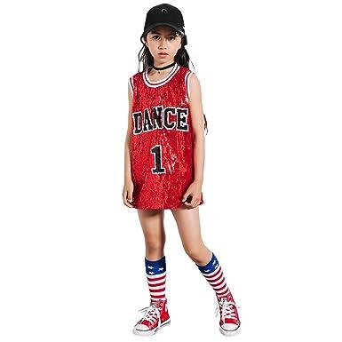 6ffd4a442132 Girls Sequins Costume Hip Hop Dancewear Sparkle Sleeveless Tank Top ...