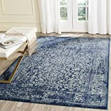 Safavieh Evoke Collection EVK256A Vintage Oriental Navy and Ivory Area Rug (3′ x 5′) For Sale