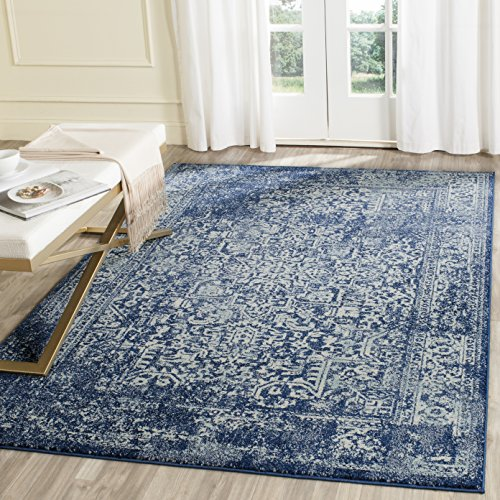 Safavieh Evoke Collection EVK256A Vintage Oriental Navy and Ivory Area Rug (3' x 5')