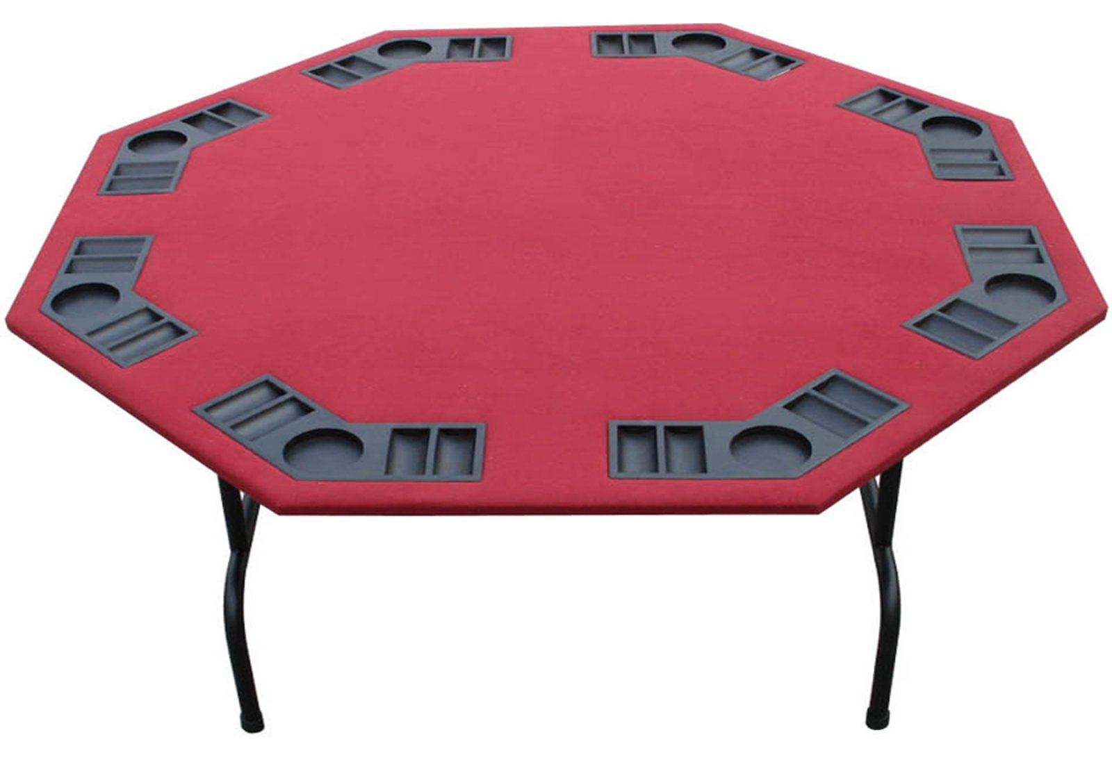 Folding Octagon Poker Table For Texas Holdem, Cards & Game. Standard 52'' In Green Or Black Felt Or Large 60'' Burgundy Tables. Steel Legs, 8 Player, Built In Cup holders & Chip Trays (burgundy, 60'')