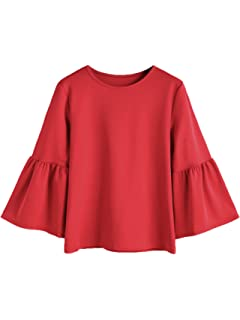 011f42694fb9c2 Romwe Women's Cute Round Neck Embroidered Bell Sleeve Blouse Top at ...