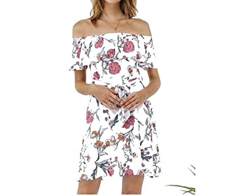 c38c02b46c0 Small-shop dresses New Women s Sexy Word Shoulder Floral Print Dress at  Amazon Women s Clothing store