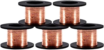 5 Rolls 0.1 mm in Diameter Copper Enameled Wire Copper Winding Wire Enameled Repair Wire 15m in Length,Natural