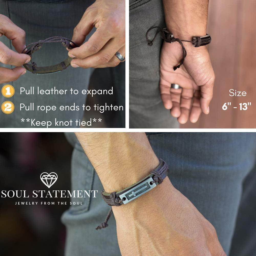 Soul D/éclaration Croix Bracelet en cuir pour homme