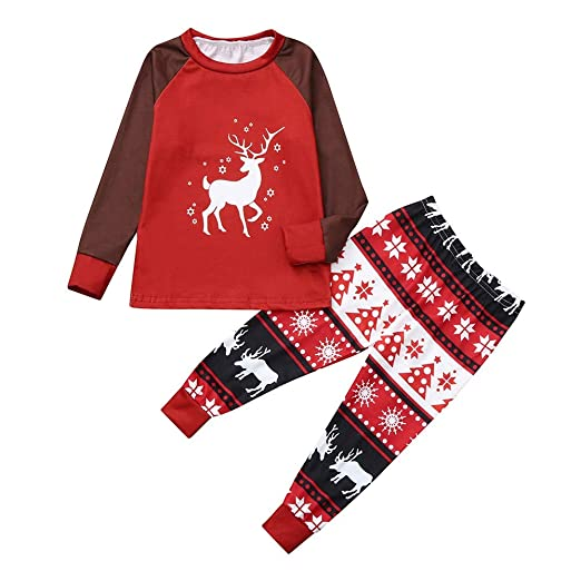 b6775f8871fb Amazon.com  2PCS Christmas Mom Dad Kids Cartoon Deer Print Top ...