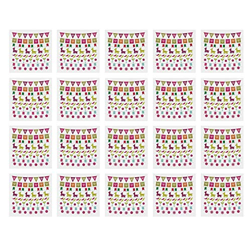 YOLIYANA Fiesta Waterproof Ceramic Tile Stickers,Latin American Motifs Flags Chili Peppers Cocktails Mexican Flag Color Party Pattern Decorative for Kitchen Living Room,One Size