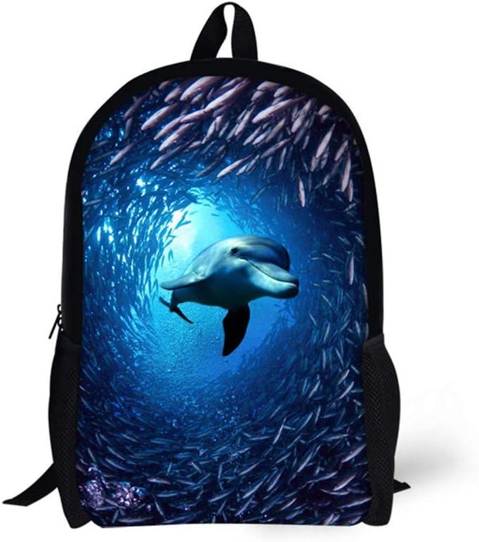 Dolphin Print Backpack 3 Pieces Children School Bag Lunch Bag Pencil Case Kids