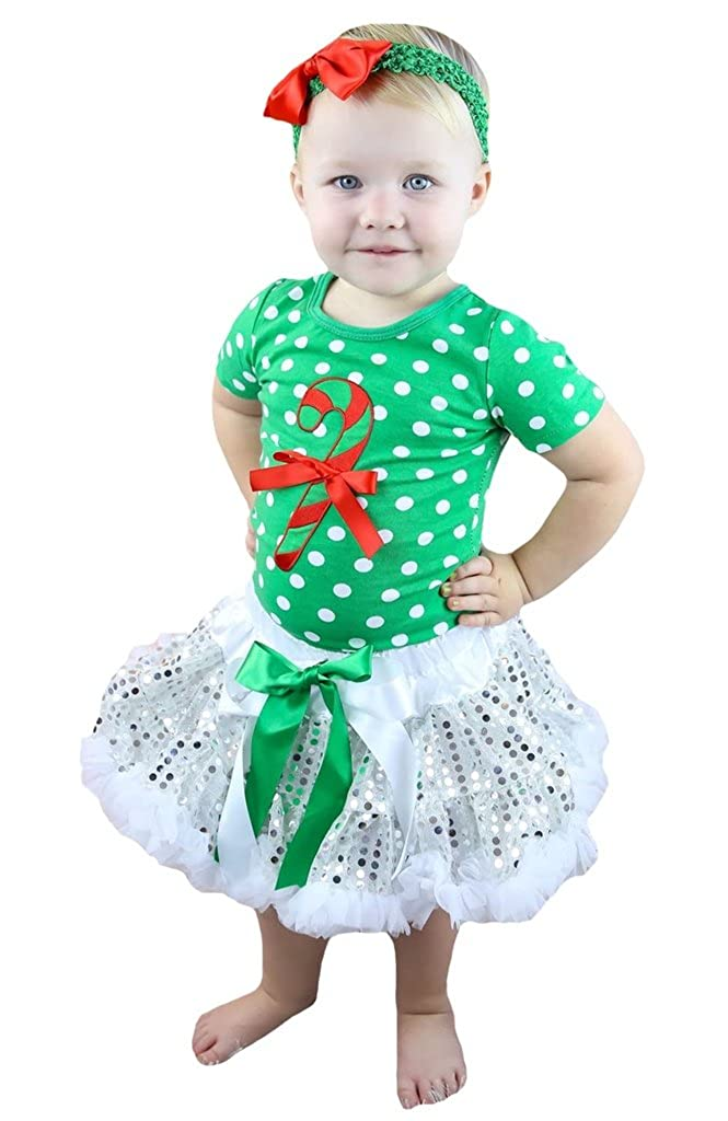 Petitebella Xmas Stick Dots Green Shirt Silver Sequins Skirt Outfit Set 1-8y