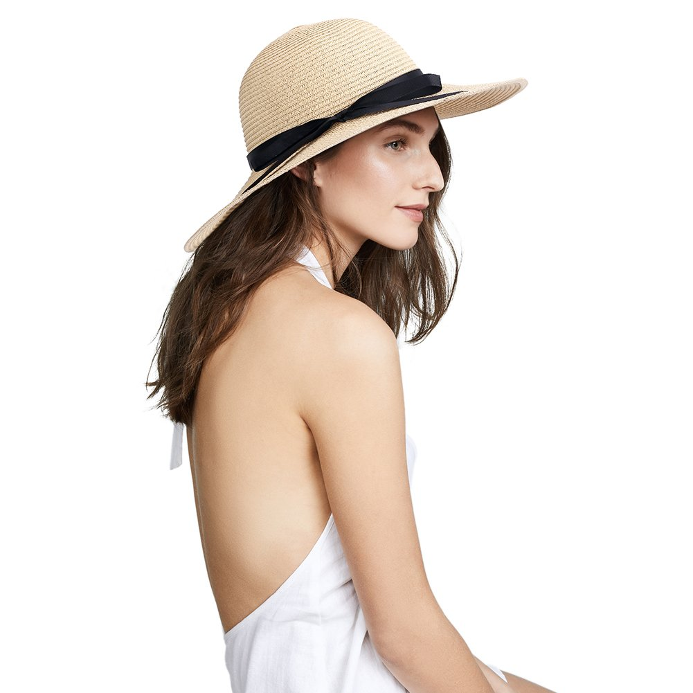 Sun Hats UV Protection Wide Brim Summer Hat UPF 50+, Foldable Floppy Travel Packable Beach Hats (Beige-01)