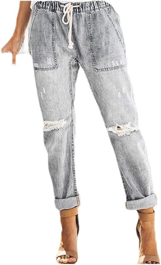 VITryst Womens Skinny Holes Straight Hi-waist Causal Jeans Trousers