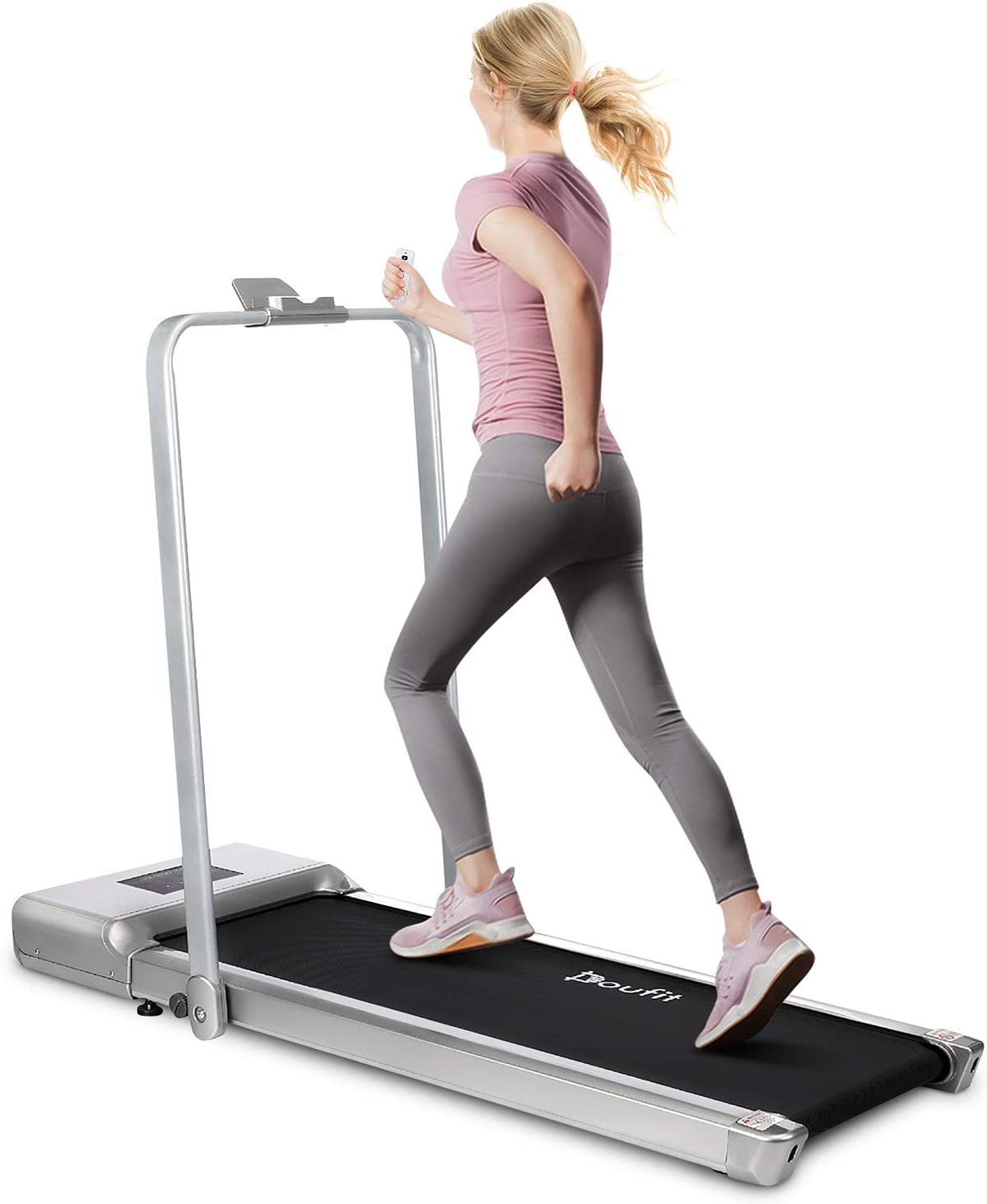 Folding Treadmill for Home Use, Doufit TD-01 Under Desk Electric Walking Jogging Exercise Machine for Small Space, Portable Compact Workout Treadmill with Remote Control & Tablet Holder (1 to 6KM/H)