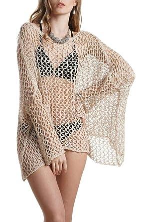 80a826f3b5 heymoney Women's Bikini Swimsuit Bathing Suit Cover up Crochet Lace Tops  Knit Mini Dresses Apricot XS