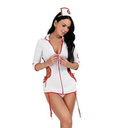 Amazon.com: freebily Mujer Enfermera Uniforme Lencería Sexy ...