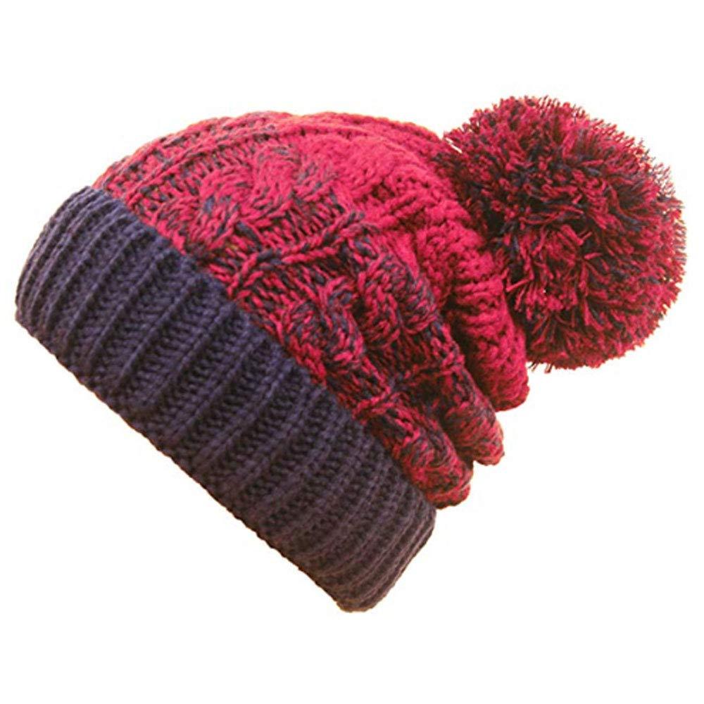 TOSKATOK Ladies Mens Soft Chunky Cable Knit Slouch Beanie Bobble Pom Pom Hat