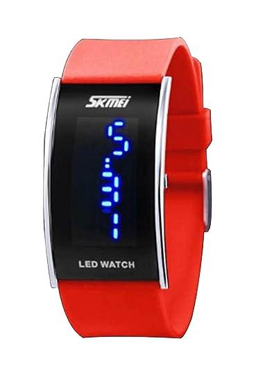 elegante banda de caucho de silicona led rojo reloj digital del deporte para hombres mujeres niños niñas reloj de la pulsera: Amazon.es: Relojes