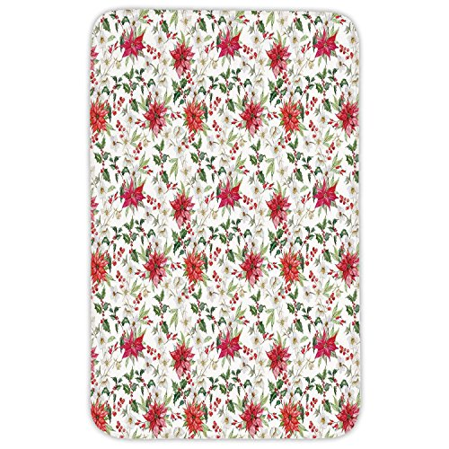 Rectangular Area Rug Mat Rug,Watercolor,Fresh Poinsettia Flowers and Rowan Berry Branches Christmas Garden,Vermilion Green Magenta,Home Decor Mat with Non Slip Backing by iPrint