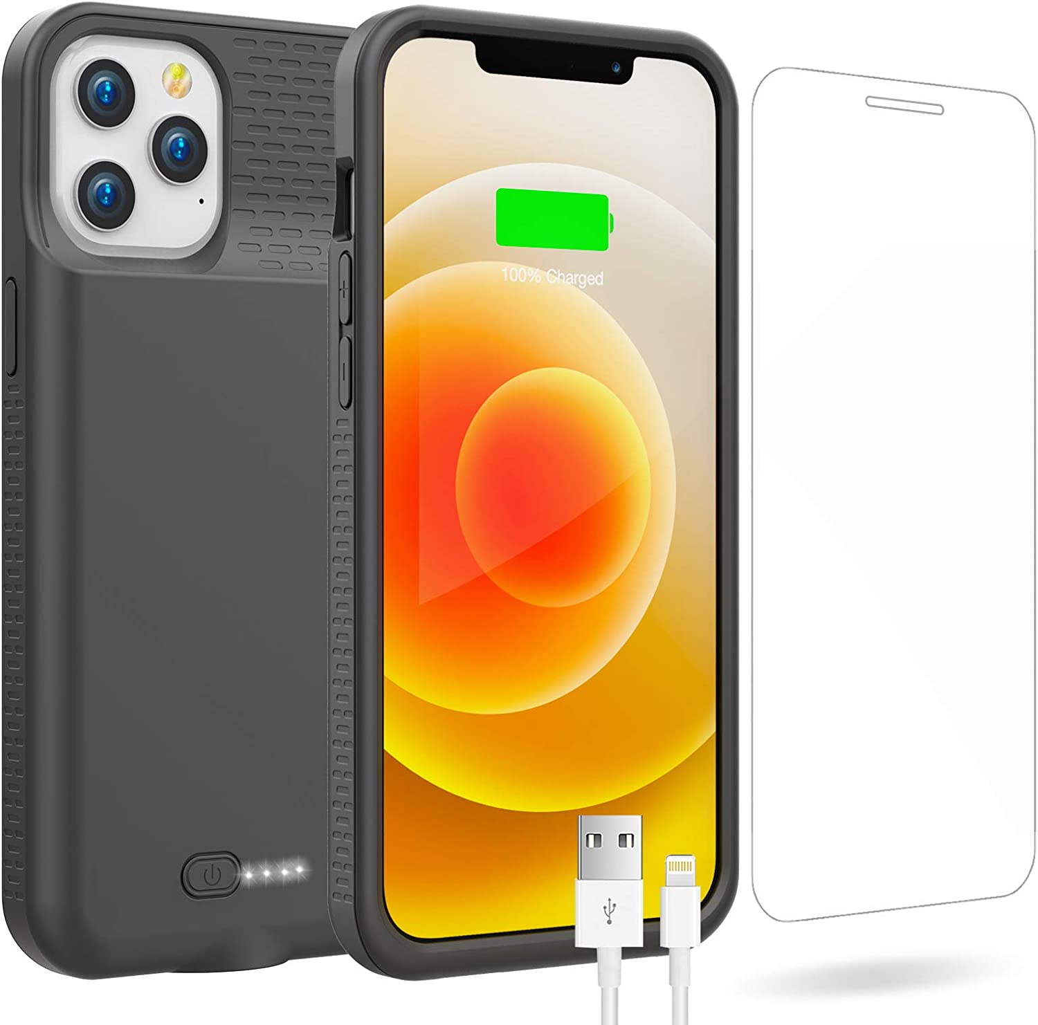 Battery Case for iPhone 12 Pro Max, 6000mAh Portable Charging Case for iPhone 12 Pro Max, Rechargeable Backup External Battery Pack Extended Battery Protective Charger Case, (6.7inch)(Black)