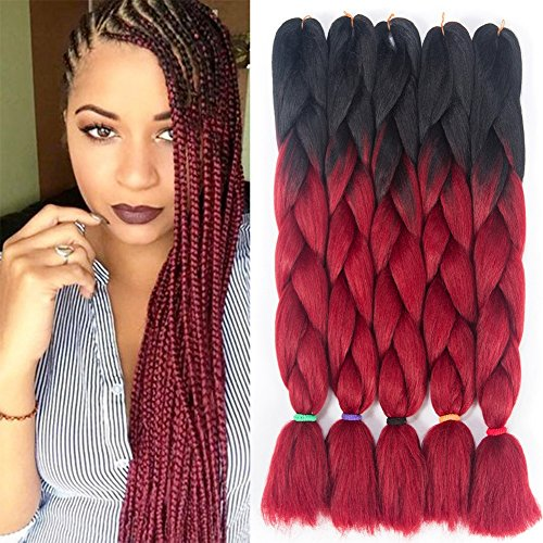Twist Red Wine - 5Pcs/Pack Jumbo Braid Hair Extensions 24