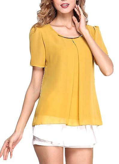 Adelina Mujer Shirts Elegantes Verano Camisas Blusa Manga Corta Estilo Coreano Cómodo Chiffon Cuello Redondo Fino Colores Sólidos Camisetas Ropa Fiesta ...