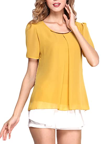 Mujer Shirts Elegantes Verano Camisas Blusa Manga Corta Estilo Coreano Cómodo Chiffon Cuello Redondo Fino Colores