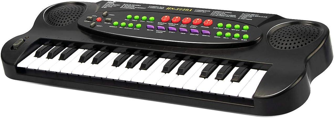 ZJTL Teclado digital eléctrico de piano con 61 teclas y soporte de música µphone- teclado electrónico portátil (niños y adultos) MQ-860USB