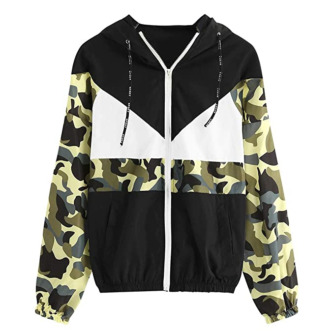 New Womens Ladies Long Sleeve Hooded Zipper Pockets Sports Jacket Coat Tops 2019