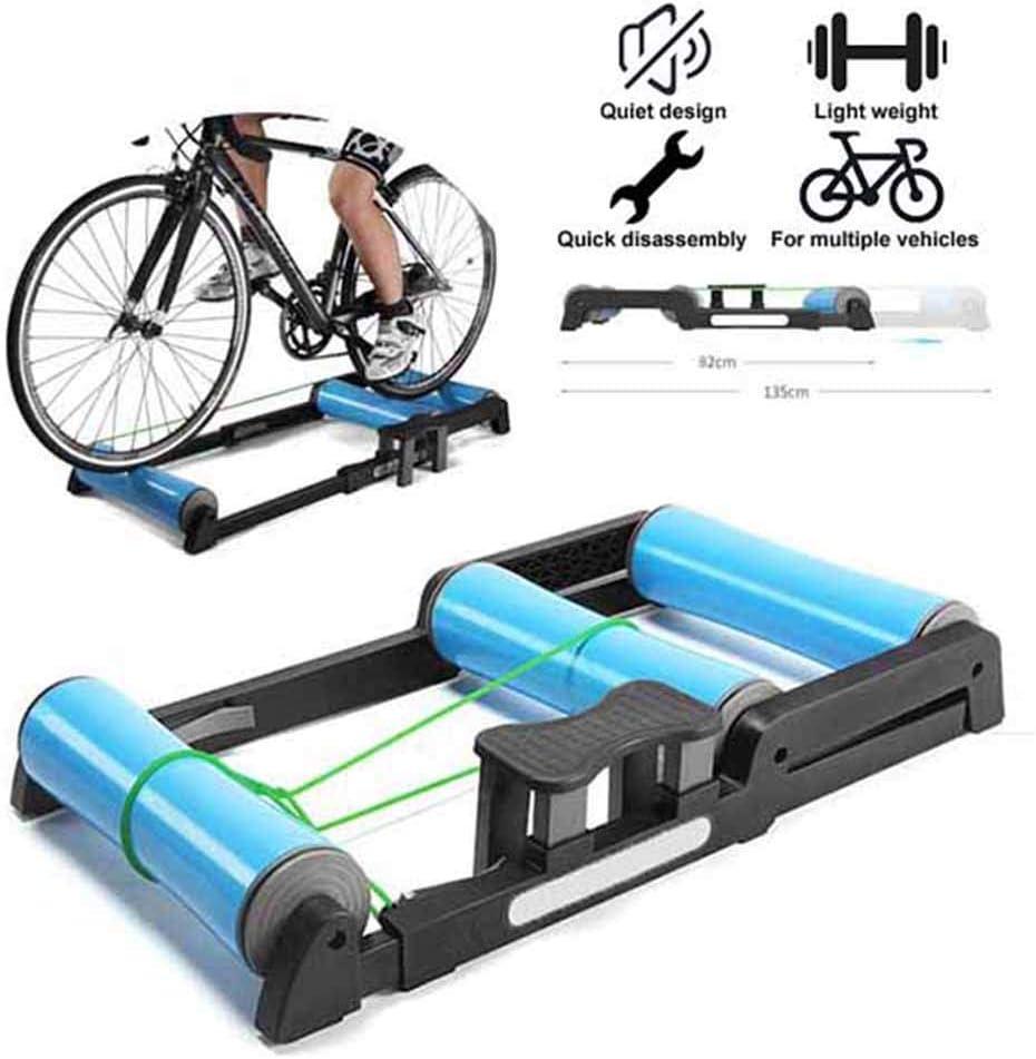 TANCEQI Entrenador Rodillos Bicicleta Interior Ajustable Entrenamiento Ciclismo Ejercicio En El Hogar Pedal Antideslizante Fácil Transportar Silencioso Poco Ruido para Montaña De 24-29 Pulgadas