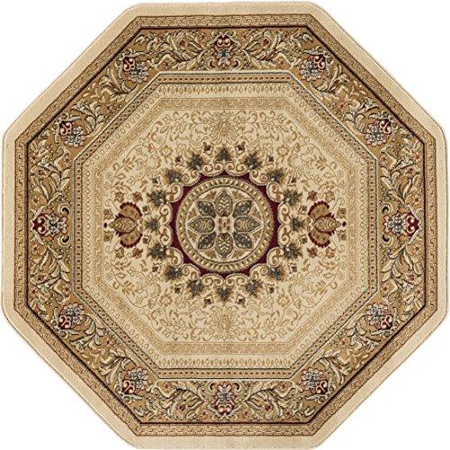 Octagon Rug Elegance (Jayden Traditional Oriental Ivory Octagon Area Rug, 8' Octagon)