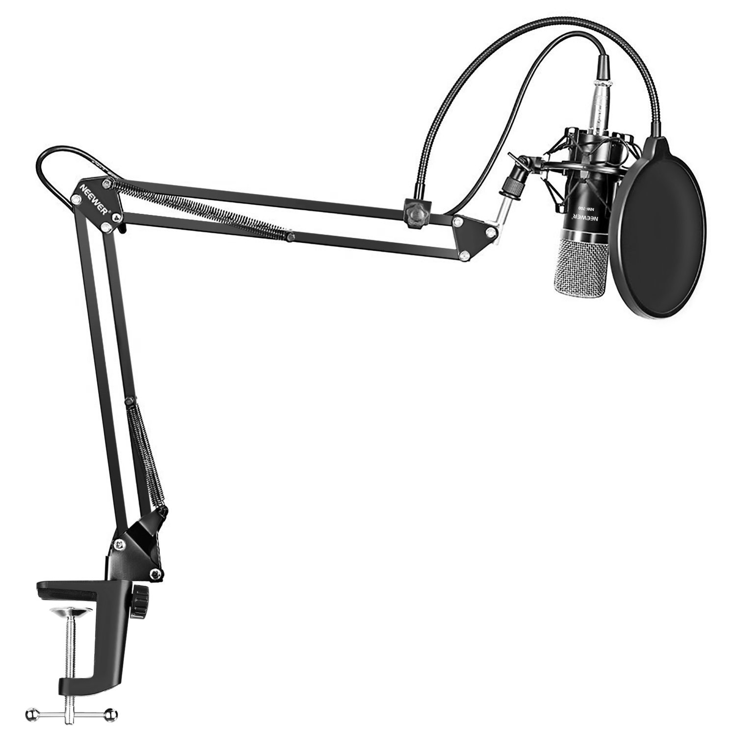 Neewer NW-700 Professional Studio Broadcasting Recording Condenser Microphone & NW-35 Adjustable Recording Microphone Suspension Scissor Arm Stand with Shock Mount and Mounting Clamp Kit by Neewer