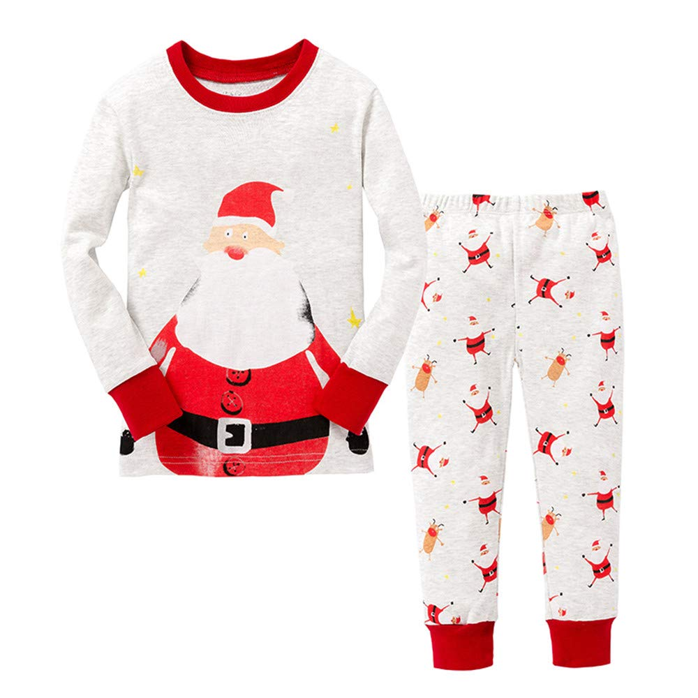 Toddler Boys Pajamas for Boys Pajamas Kids Santa Claus Christmas Nightwear Sleepwear Long Sleeve Pjs Set Size 2-3 Years 3T