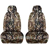 Camouflage Car Seat Covers w 2 Separate Headrest Covers: Woods Camo - Semi-custom Fit - Front - Will Make Fit ANY Car/Truck/Van/SUV (19 Prints)