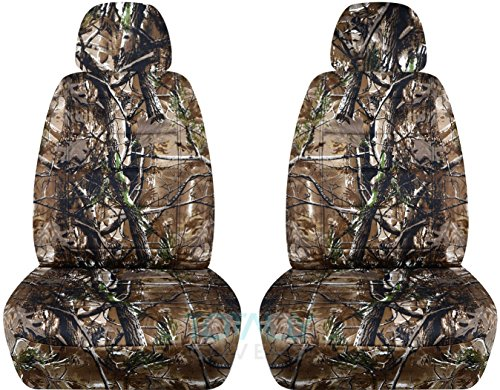 Camouflage Car Seat Covers w 2 Separate Headrest Covers: Woods Camo - Semi-Custom Fit - Front - Will Make Fit Any Car/Truck/Van/SUV (22 Prints)