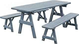 product image for Pressure Treated Pine 5 Foot Picnic Table with Detached Benches- Gray Stain