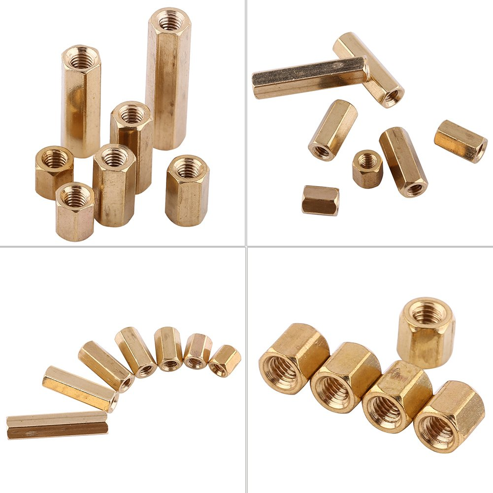 100pcs M3 Brass Female Standoff M3*6 Hex Column Female Support Threaded Standoff Spacers DIY Set for PCB Board Motherboard